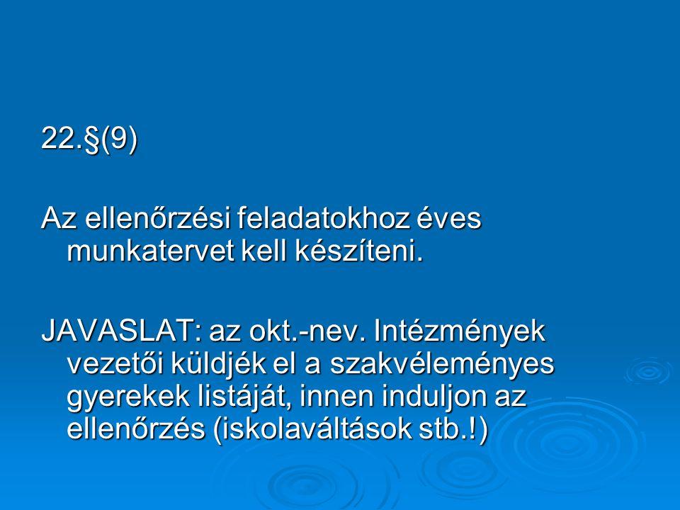 22.§(9) Az ellenőrzési feladatokhoz éves munkatervet kell készíteni.