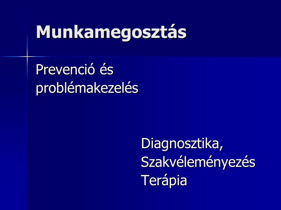 Munkamegosztás Prevenció és problémakezelés Diagnosztika, Diagnosztika, Szakvéleményezés Szakvéleményezés Terápia Terápia