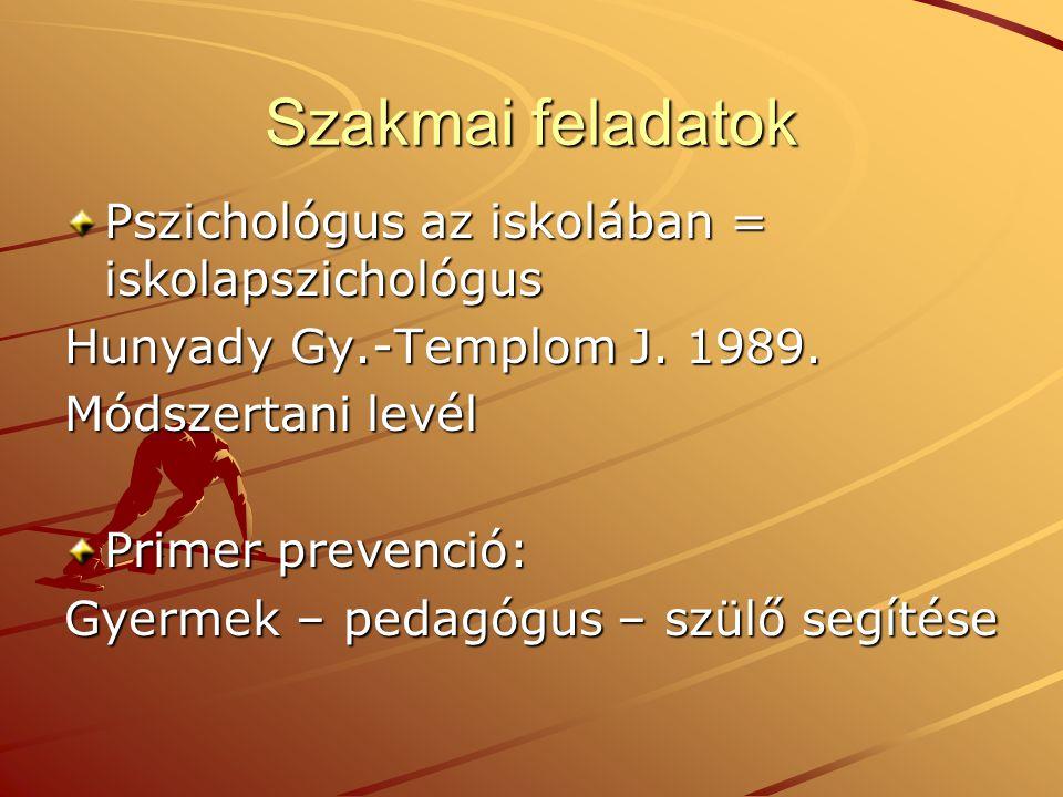 Szakmai feladatok Pszichológus az iskolában = iskolapszichológus Hunyady Gy.-Templom J. 1989. Módszertani levél Primer prevenció: Gyermek – pedagógus
