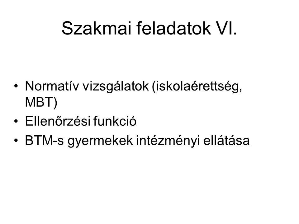Szakmai feladatok VI. Normatív vizsgálatok (iskolaérettség, MBT) Ellenőrzési funkció BTM-s gyermekek intézményi ellátása