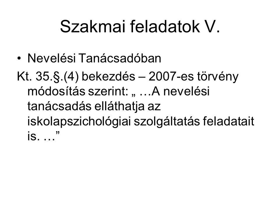 Szakmai feladatok V.Nevelési Tanácsadóban Kt.