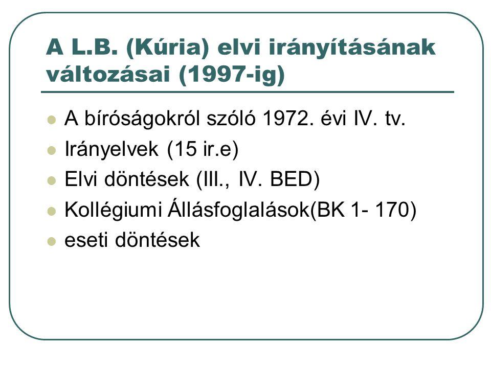 A L.B. (Kúria) elvi irányításának változásai (1997-ig) A bíróságokról szóló 1972.