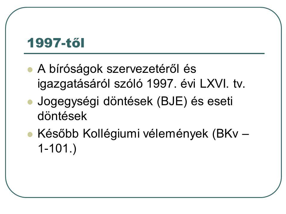 1997-től A bíróságok szervezetéről és igazgatásáról szóló 1997.