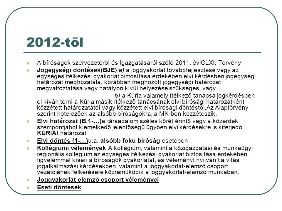 2012-től A bíróságok szervezetéről és Igazgatásáról szóló 2011.