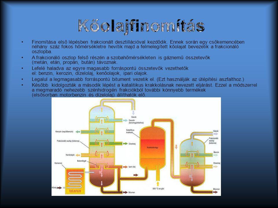 Kőolajfinomítás Finomítása első lépésben frakcionált desztillációval kezdődik. Ennek során egy csőkemencében néhány száz fokos hőmérsékletre hevítik m