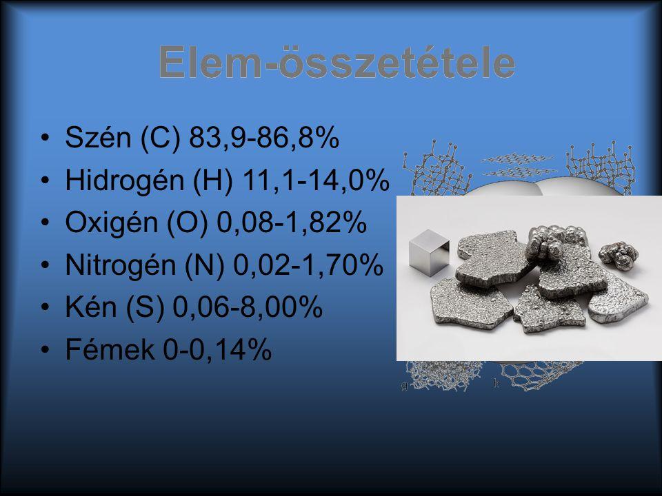 Elem-összetétele Szén (C) 83,9-86,8% Hidrogén (H) 11,1-14,0% Oxigén (O) 0,08-1,82% Nitrogén (N) 0,02-1,70% Kén (S) 0,06-8,00% Fémek 0-0,14% Elem-össze