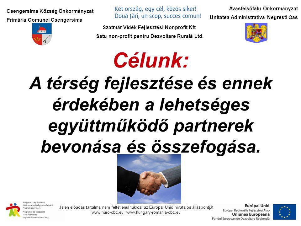 Csengersima Község Önkormányzat Primăria Comunei Csengersima Jelen előadás tartalma nem feltétlenül tükrözi az Európai Unió hivatalos álláspontját www.huro-cbc.eu; www.hungary-romania-cbc.eu Szatmár Vidék Fejlesztési Nonprofit Kft Satu non-profit pentru Dezvoltare Rurală Ltd.