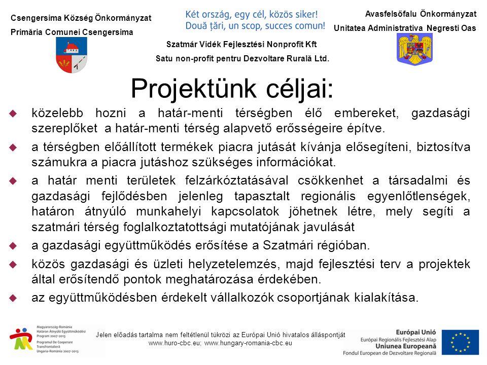 Csengersima Község Önkormányzat Primăria Comunei Csengersima Jelen előadás tartalma nem feltétlenül tükrözi az Európai Unió hivatalos álláspontját www.huro-cbc.eu; www.hungary-romania-cbc.eu Avasfelsőfalu Önkormányzat Unitatea Administrativa Negresti Oas Együttműködő partnereink - Szatmár Vidék Fejlesztési Nonprofit Kft (4763 Ura, Tisza tanya.) (4763 Ura, Tisza tanya.) - Negresti Oas Város Önkormányzata (Nr.
