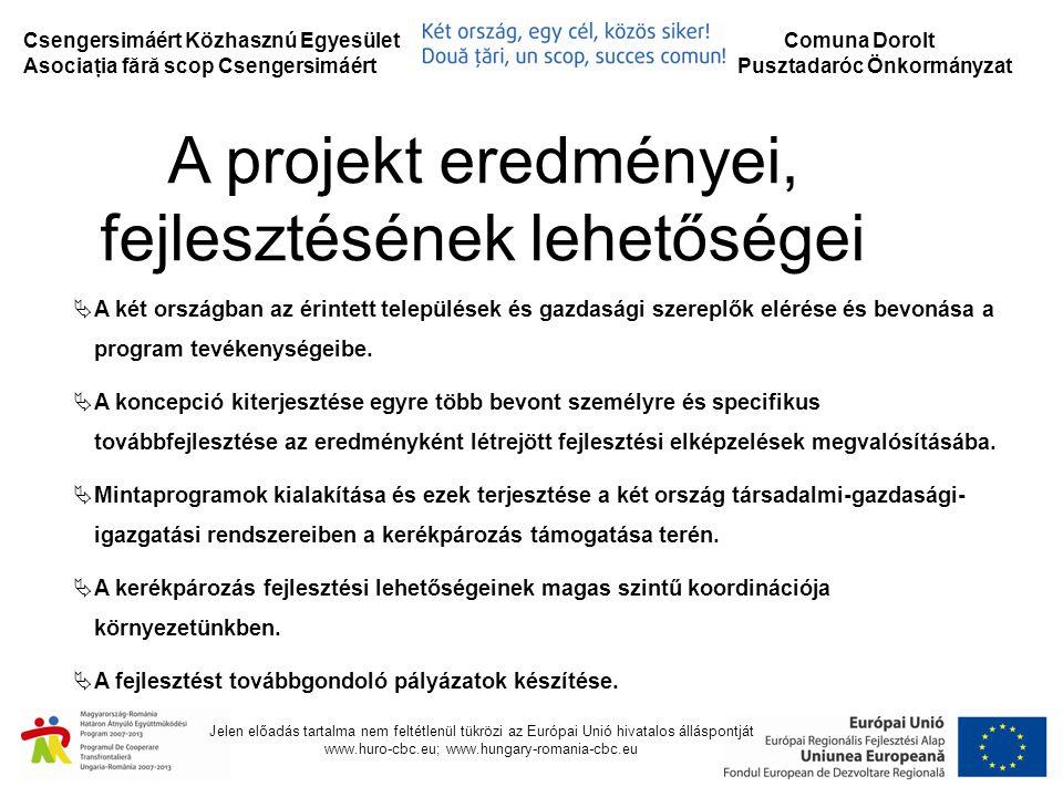Csengersimáért Közhasznú Egyesület Asociaţia fără scop Csengersimáért Comuna Dorolt Pusztadaróc Önkormányzat Jelen előadás tartalma nem feltétlenül tükrözi az Európai Unió hivatalos álláspontját www.huro-cbc.eu; www.hungary-romania-cbc.eu A projekt eredményei, fejlesztésének lehetőségei  A két országban az érintett települések és gazdasági szereplők elérése és bevonása a program tevékenységeibe.