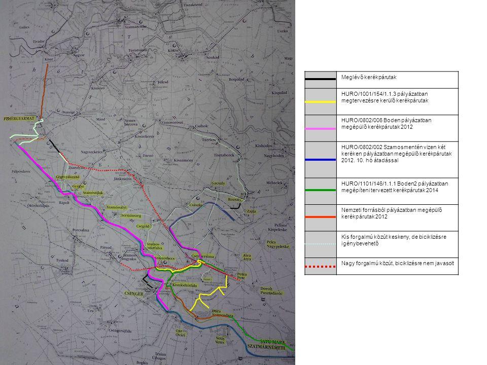 Meglévő kerékpárutak HURO/1001/154/1.1.3 pályázatban megtervezésre kerülő kerékpárutak HURO/0802/006 Boden pályázatban megépülő kerékpárutak 2012 HURO/0802/002 Szamosmentén vizen két keréken pályázatban megépülő kerékpárutak 2012.
