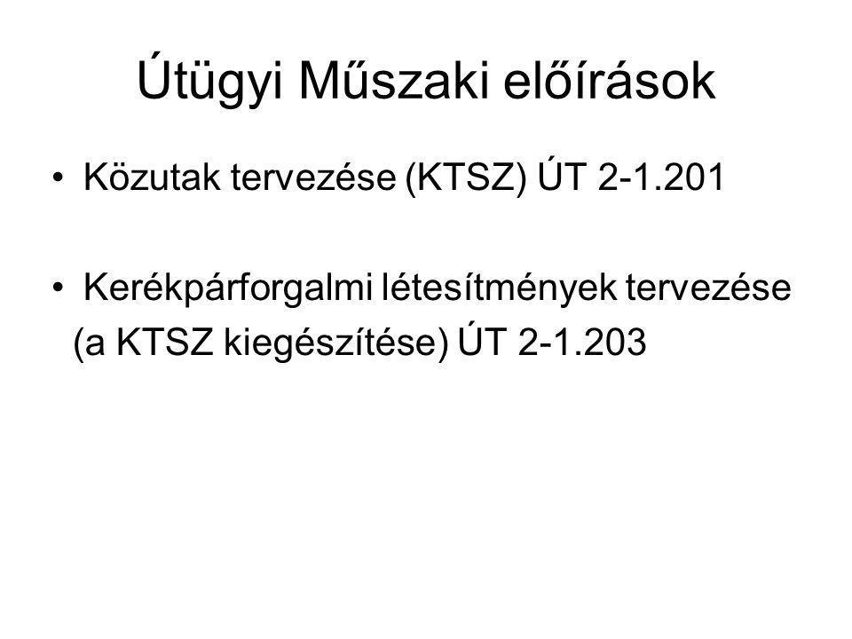 Útügyi Műszaki előírások Közutak tervezése (KTSZ) ÚT 2-1.201 Kerékpárforgalmi létesítmények tervezése (a KTSZ kiegészítése) ÚT 2-1.203