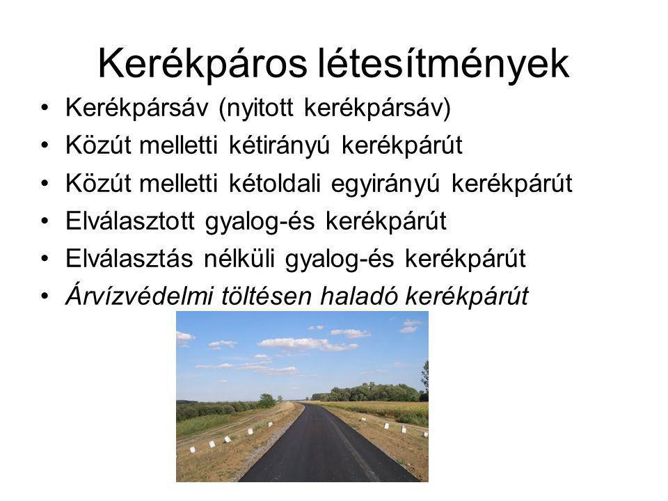 Forgalombiztonság Kerékpárút elhelyezése Szűkületi szakaszok Szabvány alóli felmentés (kerékpársáv, nyitott kerékpársáv)