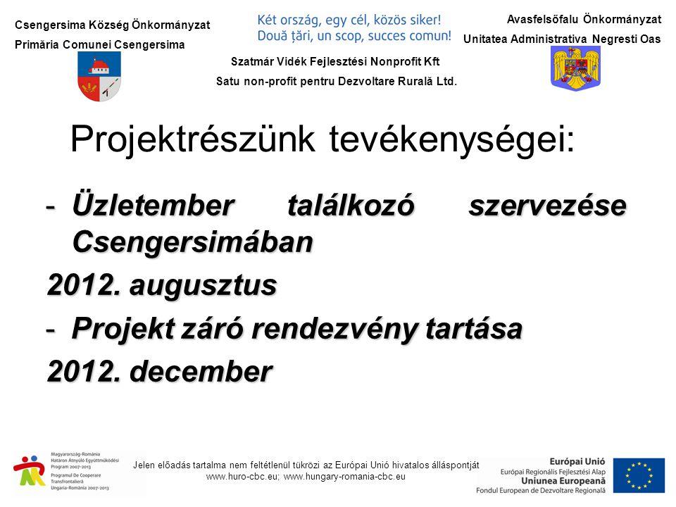 Csengersima Község Önkormányzat Primăria Comunei Csengersima Jelen előadás tartalma nem feltétlenül tükrözi az Európai Unió hivatalos álláspontját www.huro-cbc.eu; www.hungary-romania-cbc.eu Avasfelsőfalu Önkormányzat Unitatea Administrativa Negresti Oas A projekt forrásai Projekt Partner ERFA támogatás Nemzeti forrás Saját erő Projektrész költsége Csengersima Község Önkormányzat 9.435,851110,10555,0511.101,00 Projekt összesen 53.761,118.562,132.695,8465.019,08 Szatmár Vidék Fejlesztési Nonprofit Kft Satu non-profit pentru Dezvoltare Rurală Ltd.