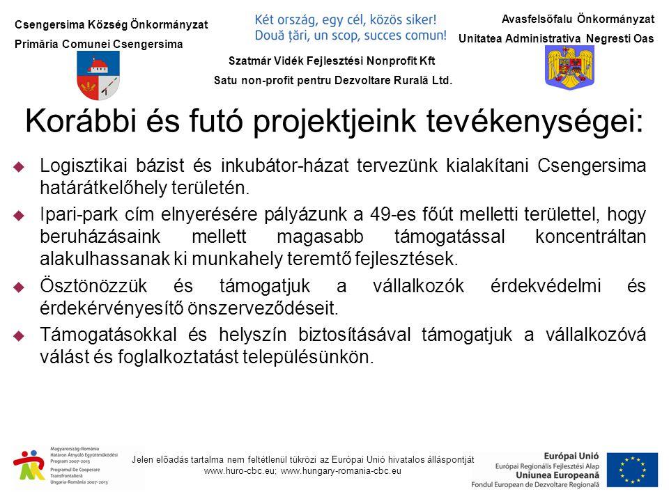 Csengersima Község Önkormányzat Primăria Comunei Csengersima Jelen előadás tartalma nem feltétlenül tükrözi az Európai Unió hivatalos álláspontját www.huro-cbc.eu; www.hungary-romania-cbc.eu Avasfelsőfalu Önkormányzat Unitatea Administrativa Negresti Oas Korábbi és futó projektjeink tevékenységei:  Logisztikai bázist és inkubátor-házat tervezünk kialakítani Csengersima határátkelőhely területén.