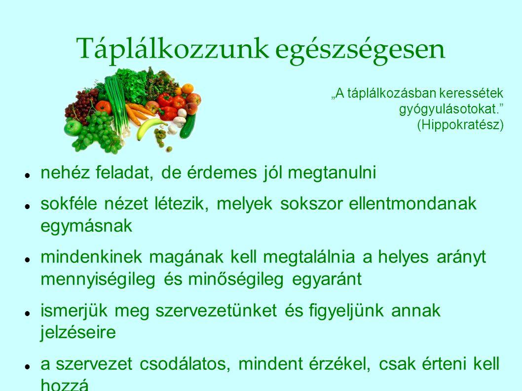 """Az étkezés aranyszabályai """"A mértékletesség a jólét titka. (Magyar közmondás) alaposan rágjunk, ha nincs idő, akkor inkább ne együnk csak friss ételeket fogyasszunk, zöldséget, gyümölcsöt naponta együnk, édességet és gyümölcsöt egyszerre ne csak akkor együnk, amikor éhesek vagyunk amikor legjobban esik, akkor hagyjuk abba evés közben ne beszéljünk időnként tartsunk böjtnapokat mindig figyeljünk a szervezet jelzéseire!"""