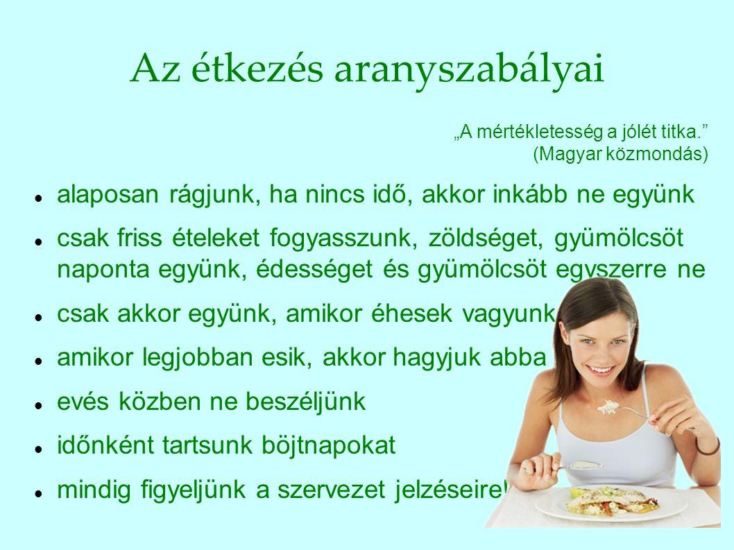 """Az étkezés aranyszabályai """"A mértékletesség a jólét titka."""" (Magyar közmondás) alaposan rágjunk, ha nincs idő, akkor inkább ne együnk csak friss étele"""
