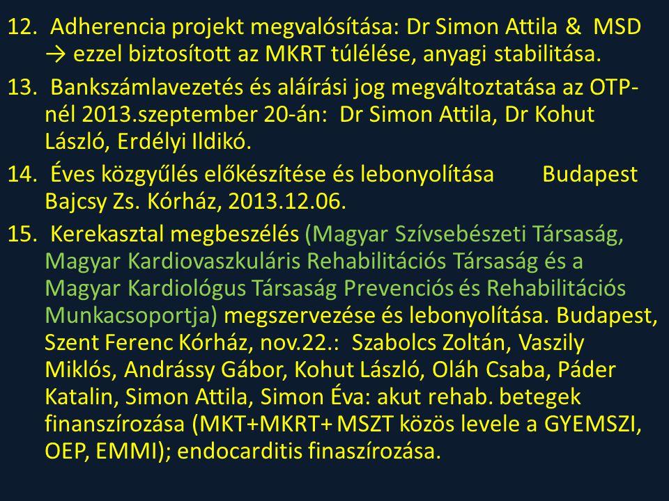 12. Adherencia projekt megvalósítása: Dr Simon Attila & MSD → ezzel biztosított az MKRT túlélése, anyagi stabilitása. 13. Bankszámlavezetés és aláírás