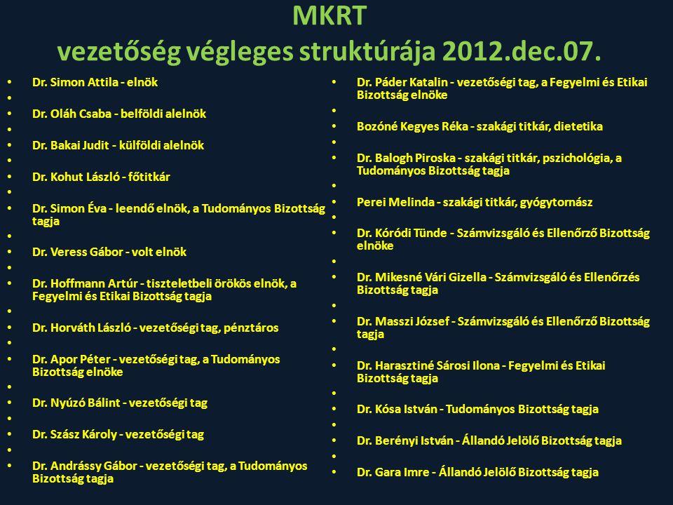MKRT VEZETŐSÉGE 2012.dec.07.Elnök: Dr. Simon Attila Főtitkár: Dr.