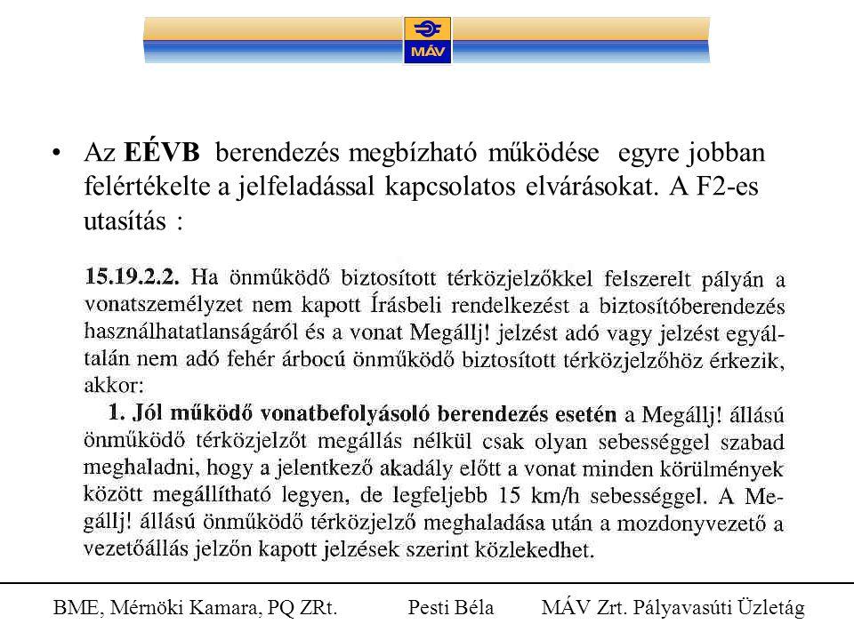 BME, Mérnöki Kamara, PQ ZRt. Pesti Béla MÁV Zrt. Pályavasúti Üzletág Az EÉVB berendezés megbízható működése egyre jobban felértékelte a jelfeladással