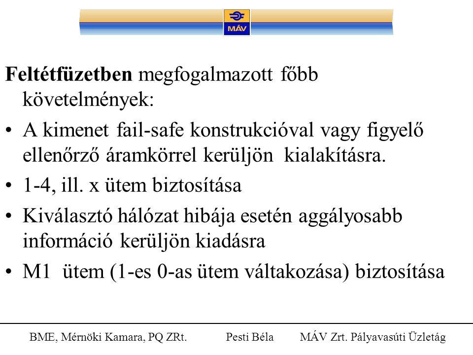 BME, Mérnöki Kamara, PQ ZRt. Pesti Béla MÁV Zrt. Pályavasúti Üzletág Feltétfüzetben megfogalmazott főbb követelmények: A kimenet fail-safe konstrukció