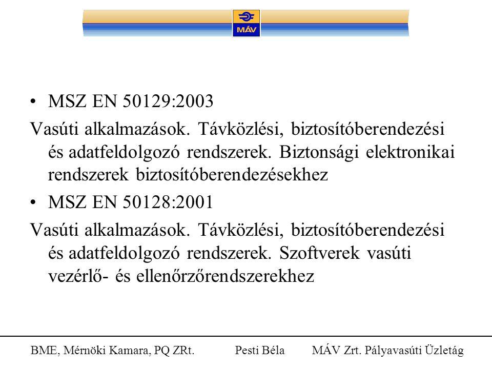BME, Mérnöki Kamara, PQ ZRt. Pesti Béla MÁV Zrt. Pályavasúti Üzletág MSZ EN 50129:2003 Vasúti alkalmazások. Távközlési, biztosítóberendezési és adatfe