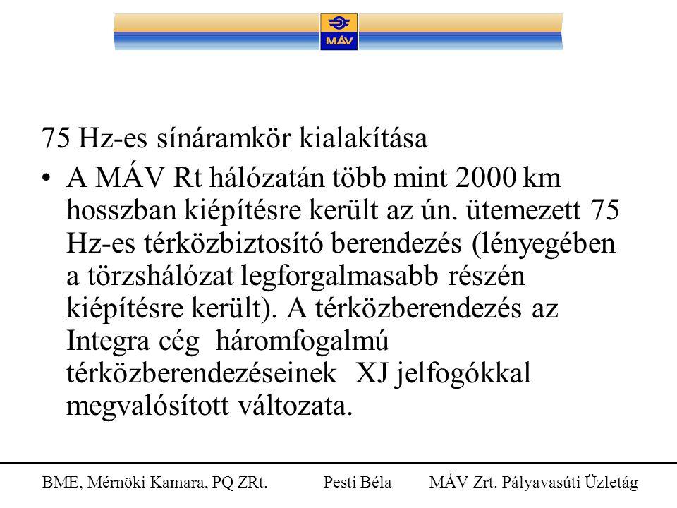 BME, Mérnöki Kamara, PQ ZRt. Pesti Béla MÁV Zrt. Pályavasúti Üzletág 75 Hz-es sínáramkör kialakítása A MÁV Rt hálózatán több mint 2000 km hosszban kié