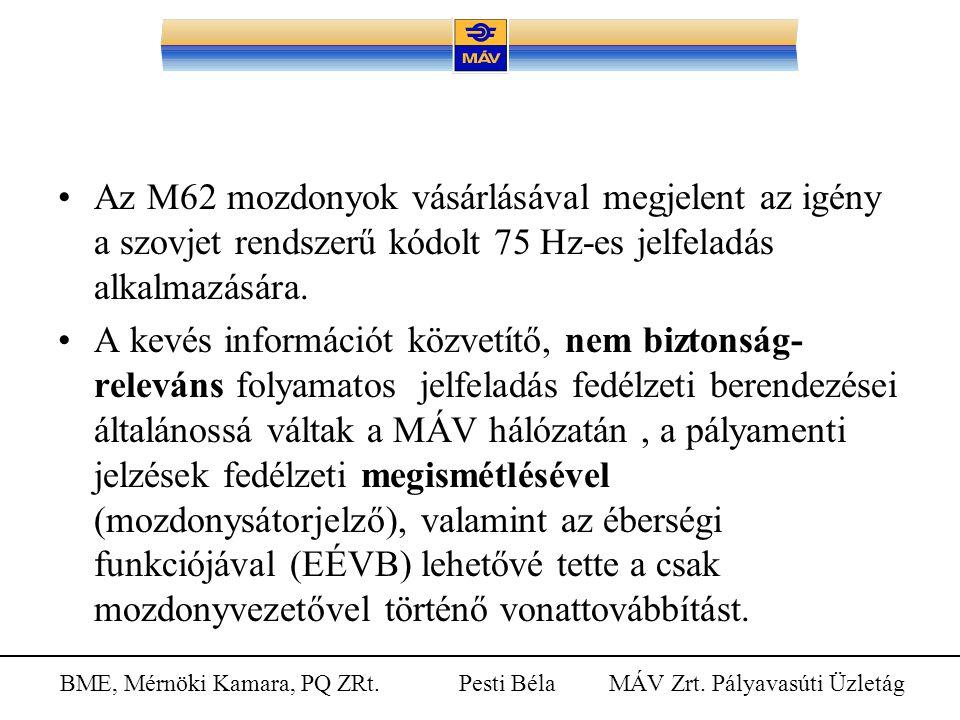 BME, Mérnöki Kamara, PQ ZRt. Pesti Béla MÁV Zrt. Pályavasúti Üzletág Az M62 mozdonyok vásárlásával megjelent az igény a szovjet rendszerű kódolt 75 Hz