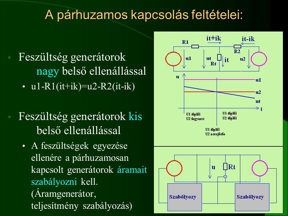 10 A párhuzamos kapcsolás feltételei: Feszültség generátorok nagy belső ellenállással u1-R1(it+ik)=u2-R2(it-ik) Feszültség generátorok kis belső ellen