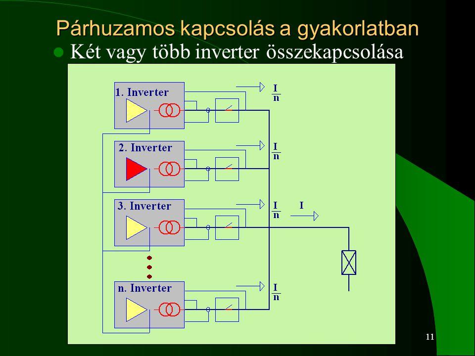11 Párhuzamos kapcsolás a gyakorlatban Két vagy több inverter összekapcsolása