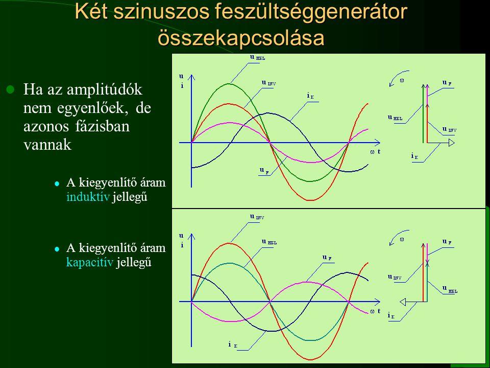 13 Két szinuszos feszültséggenerátor összekapcsolása Ha az amplitúdók nem egyenlőek, de azonos fázisban vannak A kiegyenlítő áram induktív jellegű A k