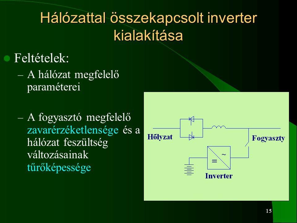 15 Hálózattal összekapcsolt inverter kialakítása Feltételek: – A hálózat megfelelő paraméterei – A fogyasztó megfelelő zavarérzéketlensége és a hálóza