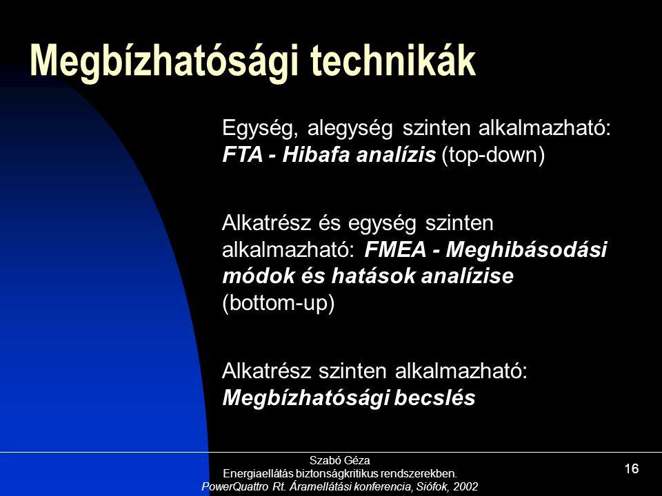 Szabó Géza Energiaellátás biztonságkritikus rendszerekben. PowerQuattro Rt. Áramellátási konferencia, Siófok, 2002 16 Egység, alegység szinten alkalma