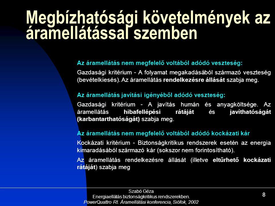 Szabó Géza Energiaellátás biztonságkritikus rendszerekben. PowerQuattro Rt. Áramellátási konferencia, Siófok, 2002 8 Megbízhatósági követelmények az á