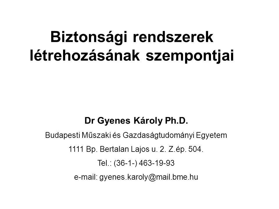 Biztonsági rendszerek létrehozásának szempontjai Dr Gyenes Károly Ph.D.