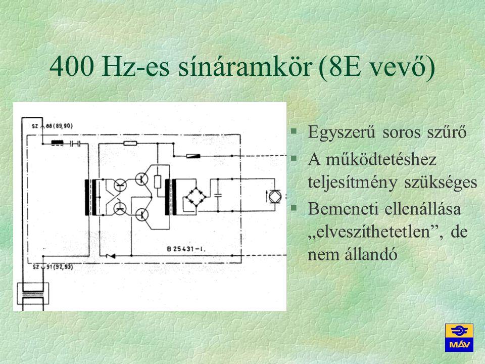 75 Hz-es kódolt sínáramkör §Szűrni kell az 50 és 100 Hz-es zavarjel elnyomásához, a 75 Hz-es jel kiemeléséhez §Impulzusüzem = a jósági tényezőnek nincs kardinális jelentősége §Az impulzusok száma, hossza a jelfeladási funkció és a tranziensek függvénye §Egysínszálas sínáramkör (földelési okokból használjuk, de kedvezőtlen az üzeme) §Kétsínszálas sínáramkör (szigetelés hibája ellen védeni kell → referenciajel