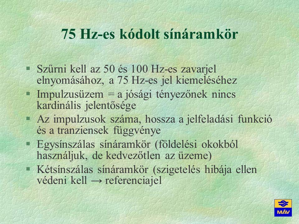 75 Hz-es vevő §Bonyolult szűrő az 50 és 100 Hz-es zavarjel elnyomásához (a szűrő mintegy 50 ms-ot késleltethet, nagyenergiájú impulzusra 75 Hz-es önlengés következhet be) §Impulzusüzem = a jósági tényezőnek nincs kardinális jelentősége (↑3,1 V ↓1,9-2,2 V) §Az impulzusok száma, hossza és tranziensei figyelembe vétele miatt lassú működés (3,5 s) §A kétsínszálas sínáramkör szigetelési hibáját feltáró referenciajel impulzusainak száma, hossza és tranziensei figyelembe vétele miatt még lassabb működés (18 s)