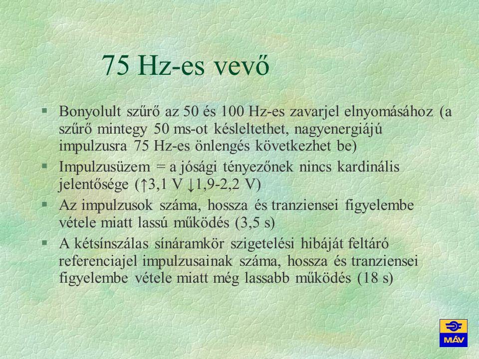 75 Hz-es vevő §Bonyolult szűrő az 50 és 100 Hz-es zavarjel elnyomásához (a szűrő mintegy 50 ms-ot késleltethet, nagyenergiájú impulzusra 75 Hz-es önle
