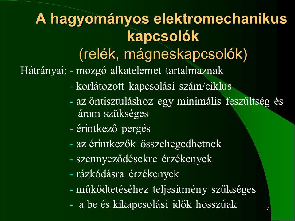 4 A hagyományos elektromechanikus kapcsolók (relék, mágneskapcsolók) A hagyományos elektromechanikus kapcsolók (relék, mágneskapcsolók) Hátrányai:- mo