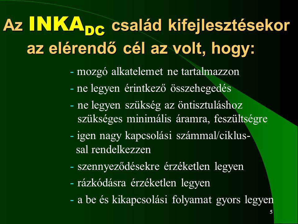 5 Az INKA DC család kifejlesztésekor az elérendő cél az volt, hogy: - mozgó alkatelemet ne tartalmazzon - ne legyen érintkező összehegedés -ne legyen