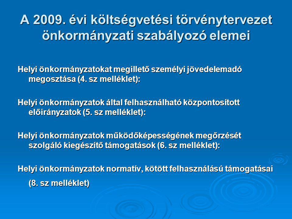 A 2009. évi költségvetési törvénytervezet önkormányzati szabályozó elemei Helyi önkormányzatokat megillető személyi jövedelemadó megosztása (4. sz mel