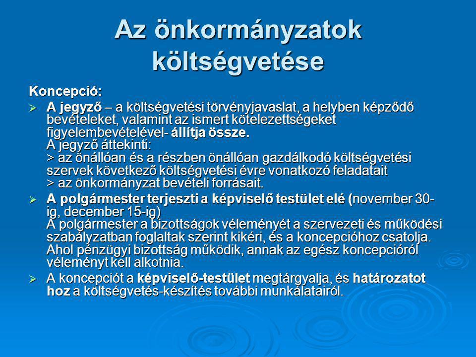 Az önkormányzatok költségvetése Koncepció:  A jegyző – a költségvetési törvényjavaslat, a helyben képződő bevételeket, valamint az ismert kötelezetts