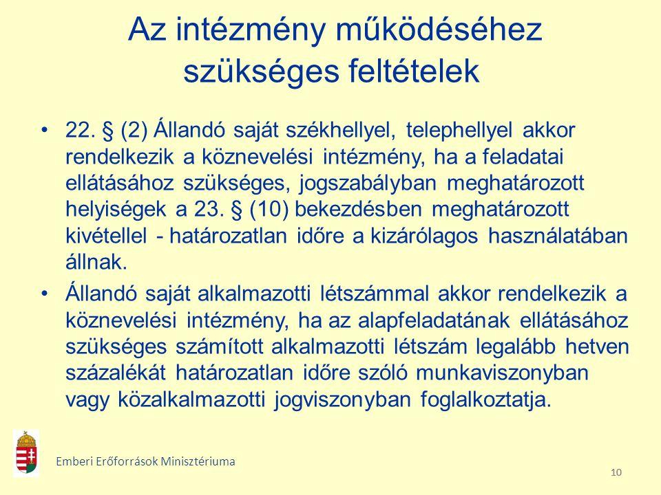 10 Az intézmény működéséhez szükséges feltételek 22. § (2) Állandó saját székhellyel, telephellyel akkor rendelkezik a köznevelési intézmény, ha a fel