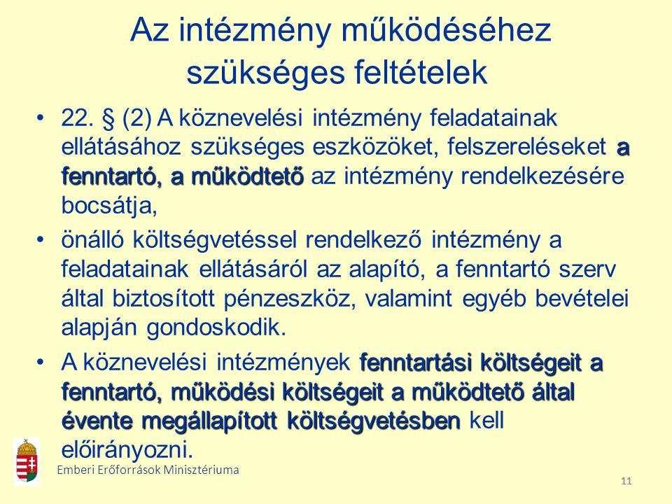 11 Az intézmény működéséhez szükséges feltételek a fenntartó, a működtető22. § (2) A köznevelési intézmény feladatainak ellátásához szükséges eszközök