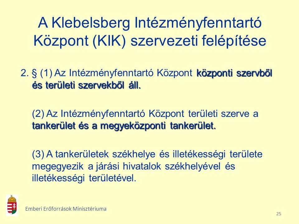 25 A Klebelsberg Intézményfenntartó Központ (KIK) szervezeti felépítése központi szervből és területi szervekből áll. 2. § (1) Az Intézményfenntartó K