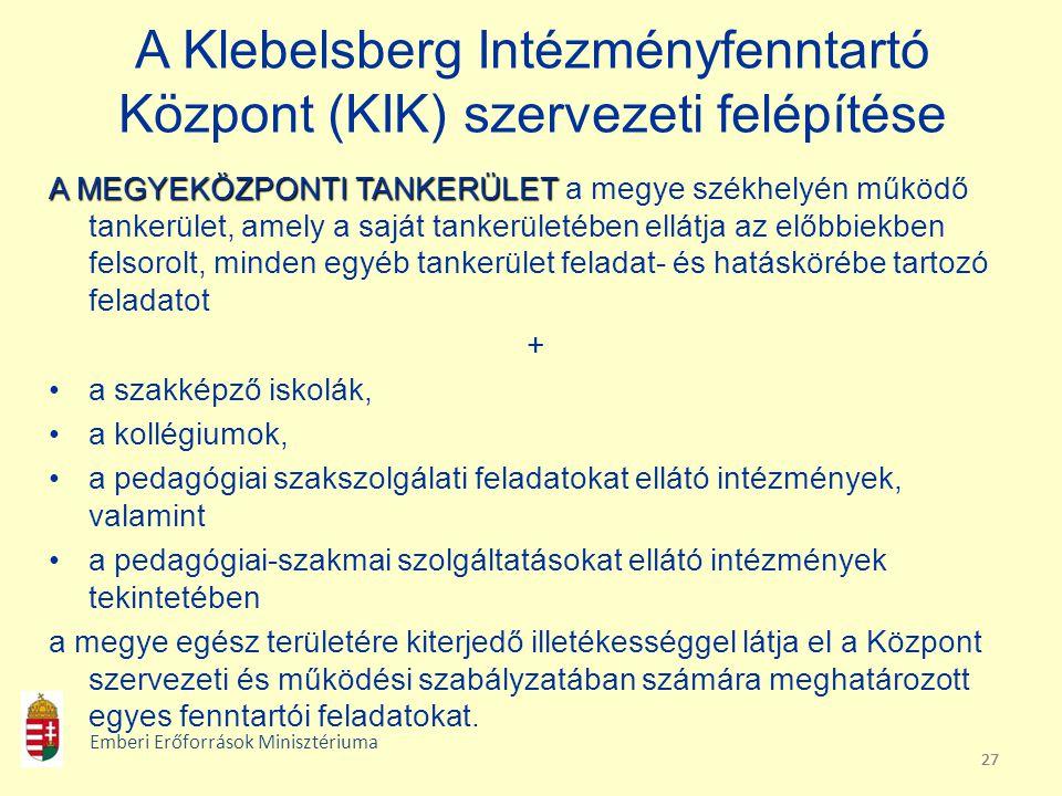 27 A Klebelsberg Intézményfenntartó Központ (KIK) szervezeti felépítése A MEGYEKÖZPONTI TANKERÜLET A MEGYEKÖZPONTI TANKERÜLET a megye székhelyén működ