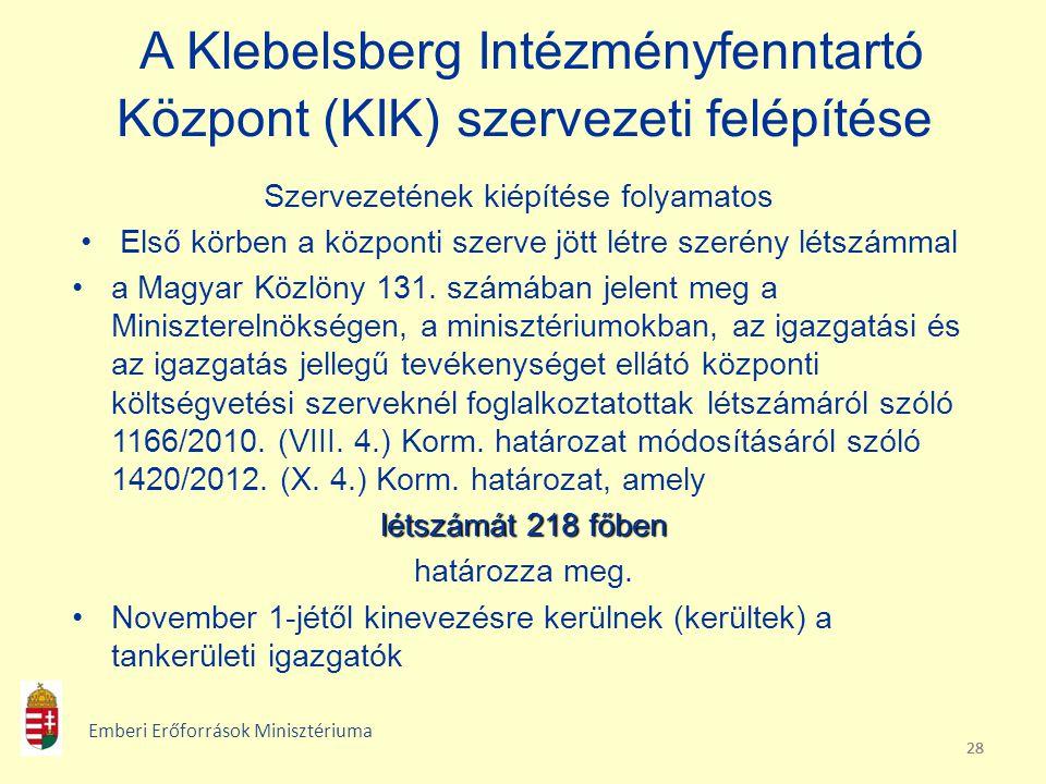 28 A Klebelsberg Intézményfenntartó Központ (KIK) szervezeti felépítése Szervezetének kiépítése folyamatos Első körben a központi szerve jött létre sz