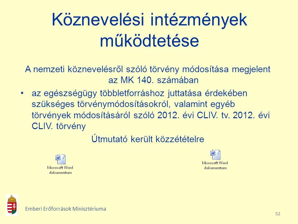 52 Köznevelési intézmények működtetése A nemzeti köznevelésről szóló törvény módosítása megjelent az MK 140. számában az egészségügy többletforráshoz
