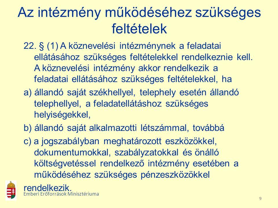 10 Az intézmény működéséhez szükséges feltételek 22.