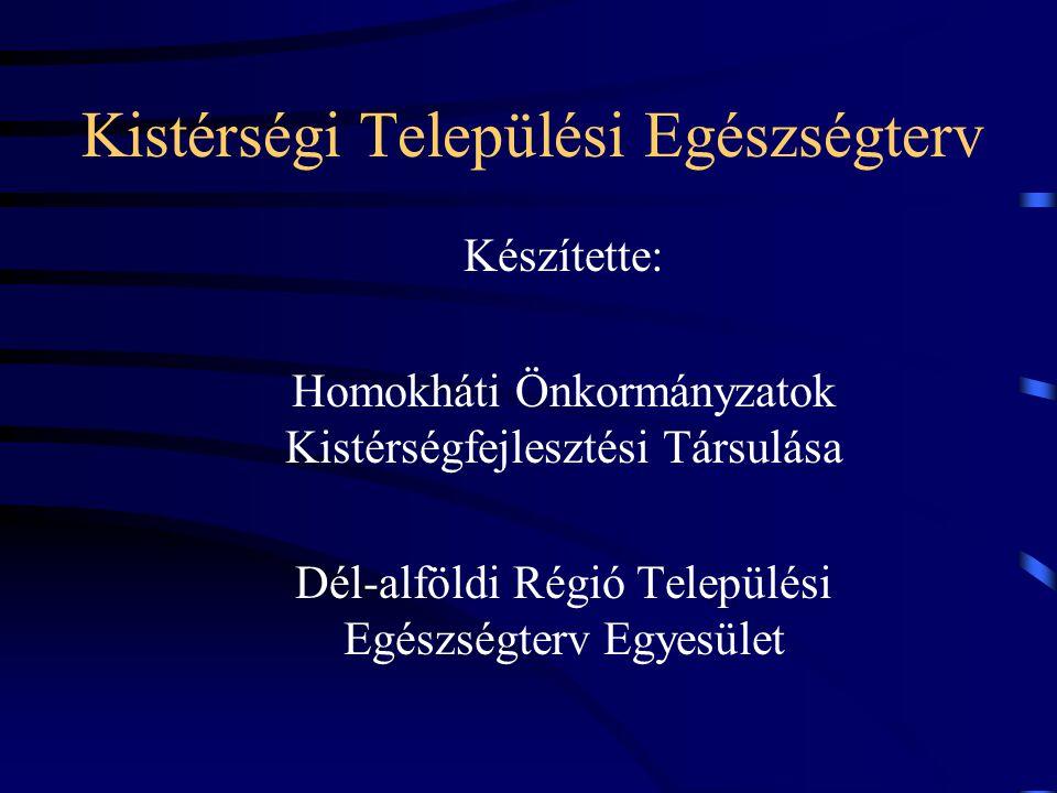 Kistérségi Települési Egészségterv Készítette: Homokháti Önkormányzatok Kistérségfejlesztési Társulása Dél-alföldi Régió Települési Egészségterv Egyesület