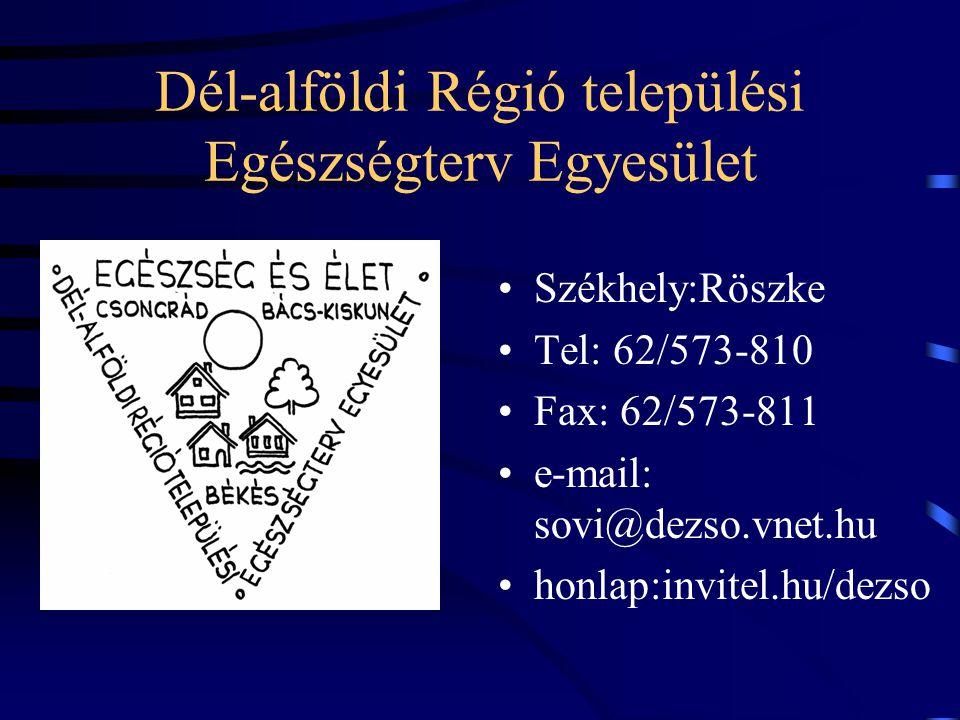 Dél-alföldi Régió települési Egészségterv Egyesület Székhely:Röszke Tel: 62/573-810 Fax: 62/573-811 e-mail: sovi@dezso.vnet.hu honlap:invitel.hu/dezso